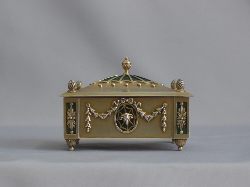 Antique silver gilt and cut crystal lidded box.