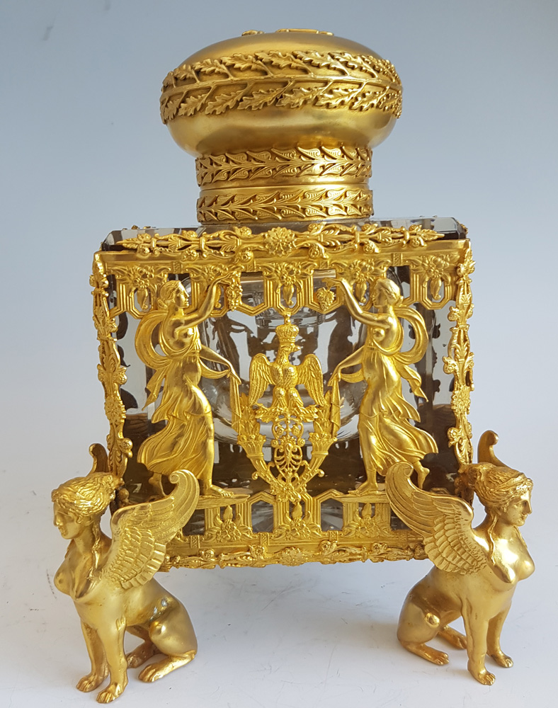 Antique Napoleon III Baccarat Crystal glass and Gilt Bronze Inkwell