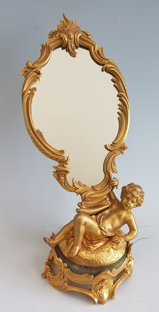 Antique French Ormolu Figural Mirror signed August Moreau