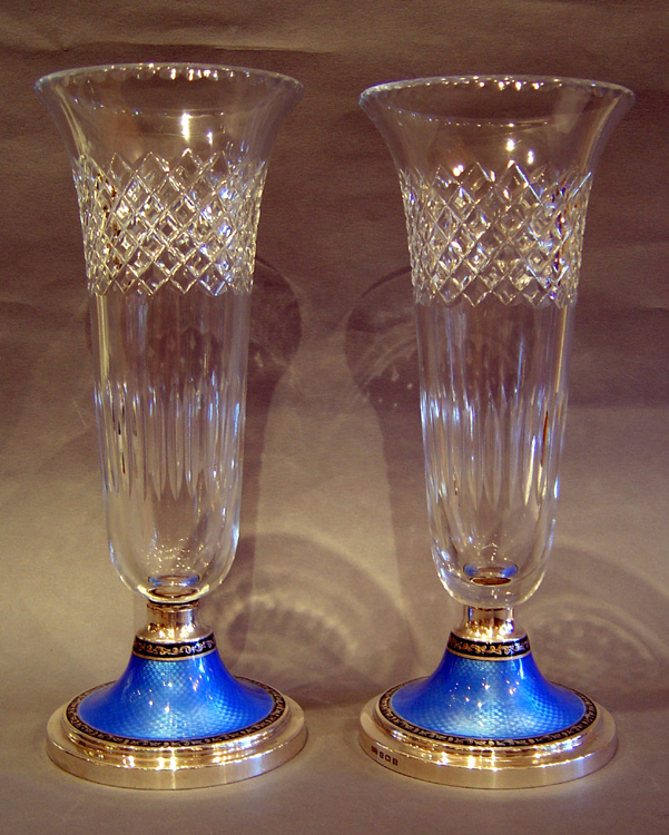 Pair English cut glass, silver and blue  guilloche enamel vases