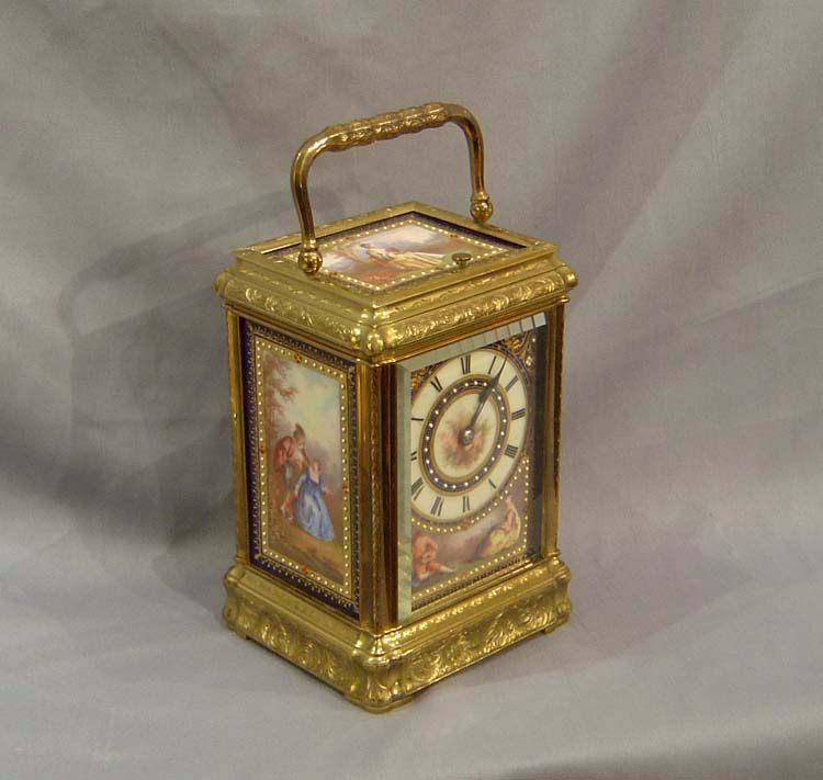 Porcelain panelled carriage clock with engraved