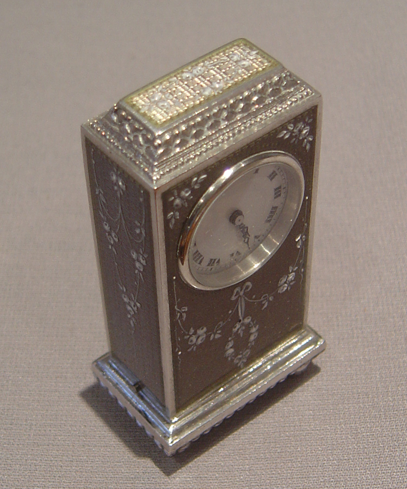 Swiss antique silver and guilloche enamel cased boudoir su miniature carriage clock.