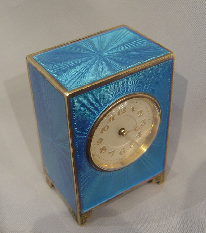Antique silver and blue guilloche enamel cased sub miniature carriage clock.