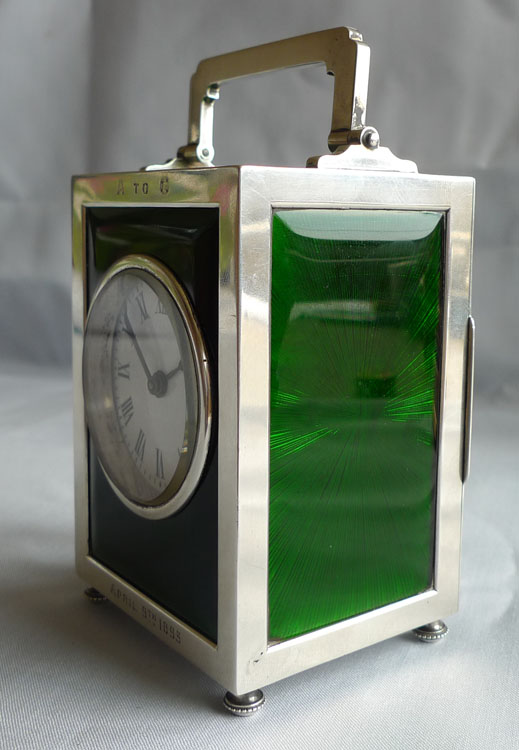 Silver and green guilloche enamel English carriage clock by Goldsmiths & Silversmiths Comp.