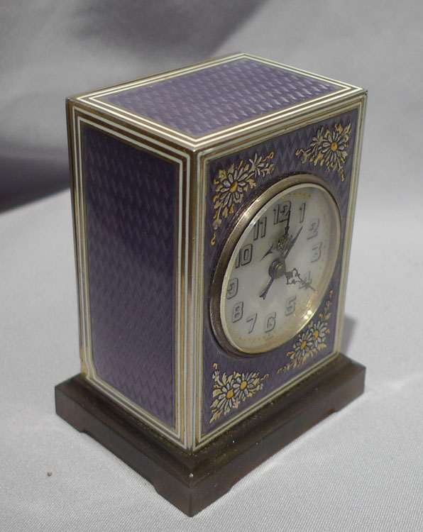 Antique rare guilloche enamell and silver gilt timepiece alarm signed Mathey in fitted case.