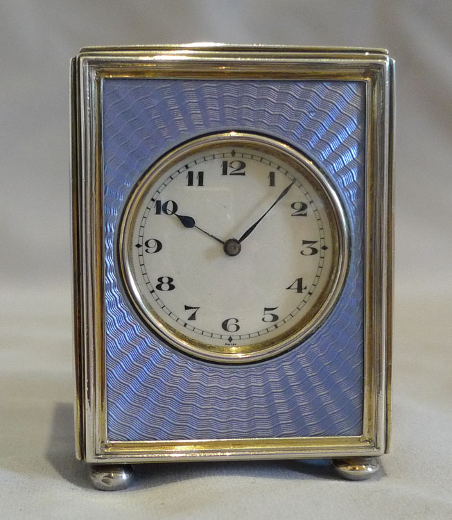Silver and lilac guilloche enamel miniature carriage clock