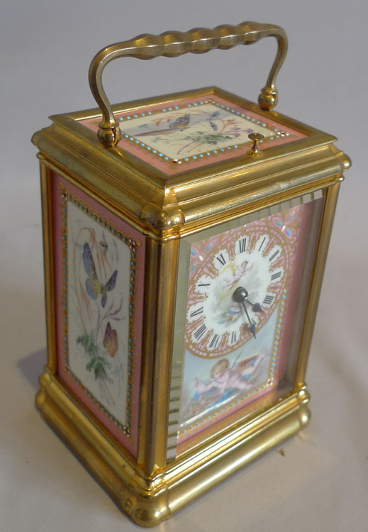 Antique French five panel porcelain gorge cased repeating carriage clock.