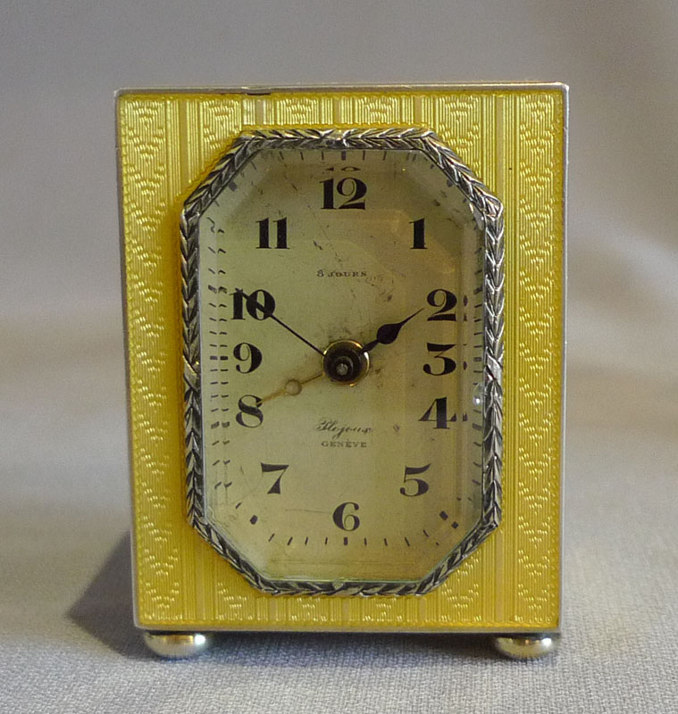 guilloche enamel and silver sub miniature carriage clock with alarm.