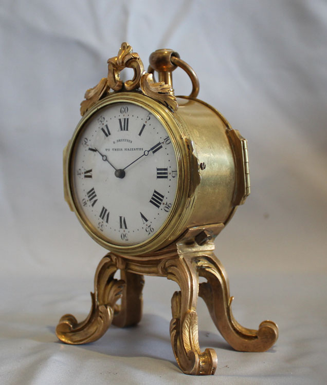 Antique English rococco style ormolu clock signed Dreyfus