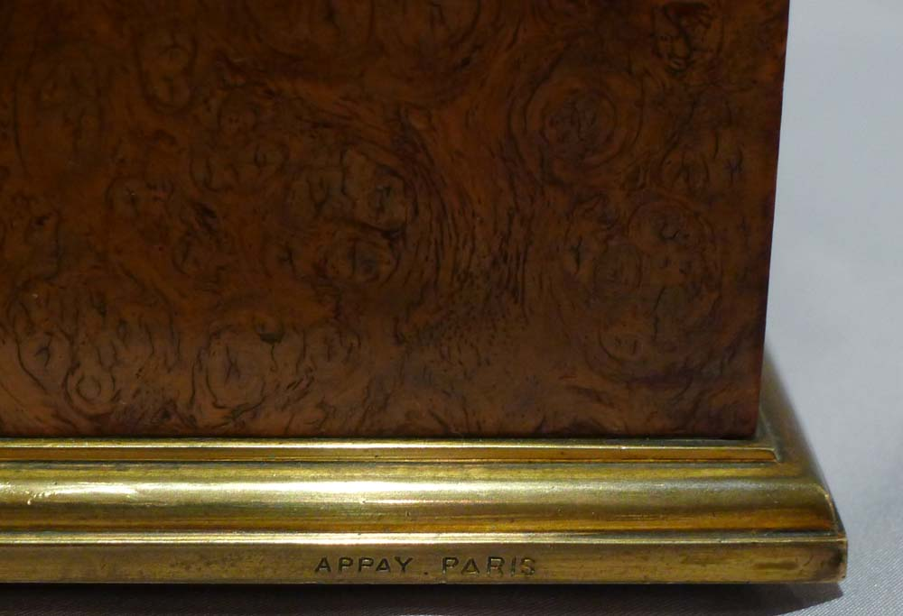 Antique burr walnut and ormolu desk set signed Appay a Paris.