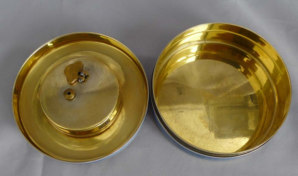 Antique French silver gilt and grey/blue guilloche enamel box with 8 day clock to lid.