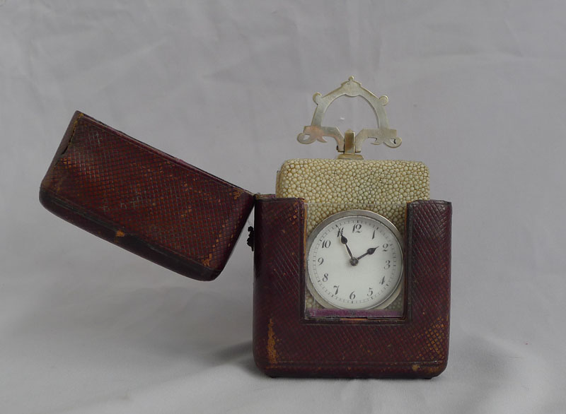 Antique shagreen and silvered carriage clock with Art and Crafts handle