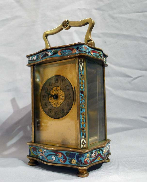 Antique French cloissonnee enamel carriage clock.