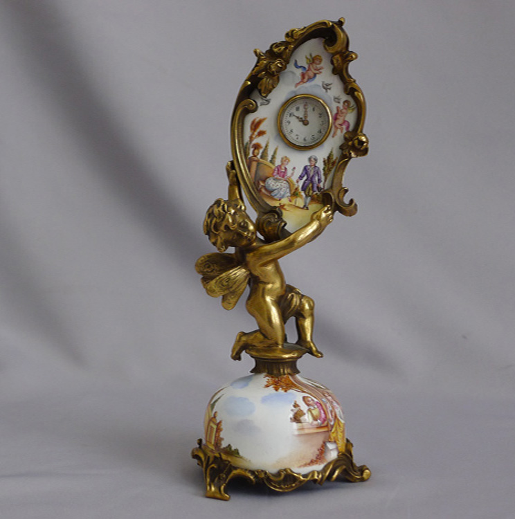 Antique Viennese hand painted enamel and ormolu boudoir clock