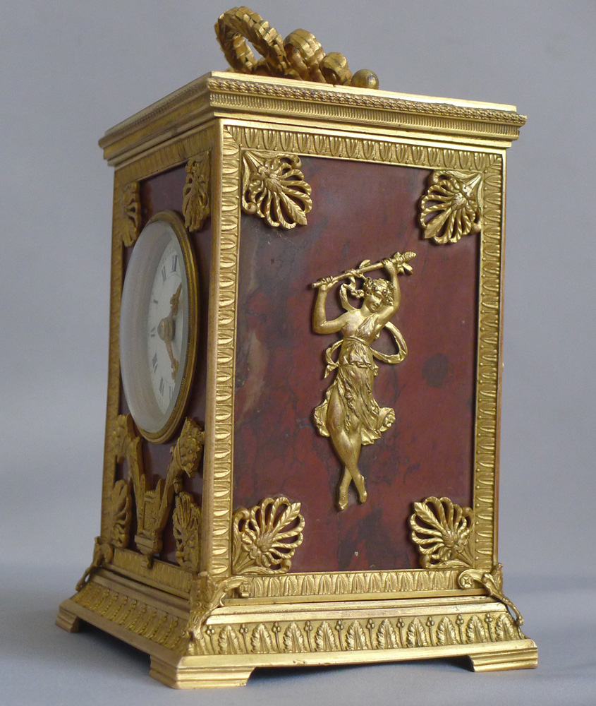 Antique French Napoleon III Ormolu and Marble Carriage Clock signed by Ed. Chartier Paris