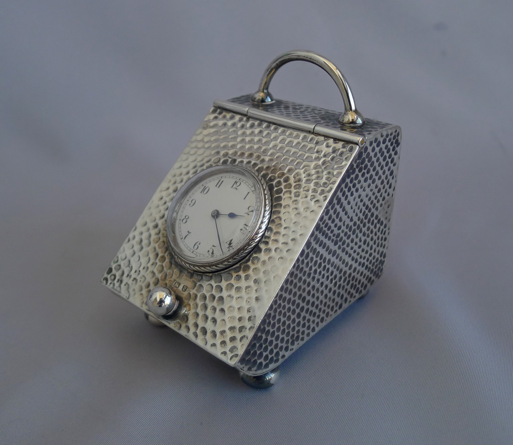 Victorian silver novelty clock in the form of a coal scuttle by Douglas Clock Co.