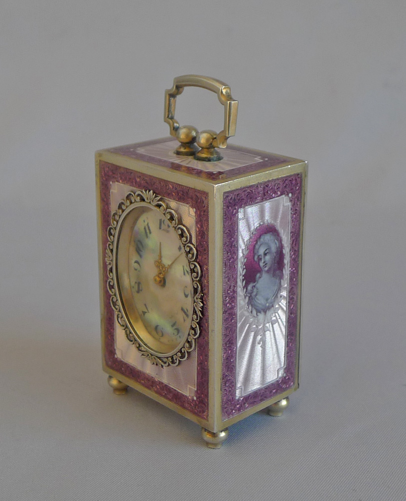 Antique Silver gilt and Guilloche enamel Sub Miniature Carriage Clock by the Geneva Clock Company