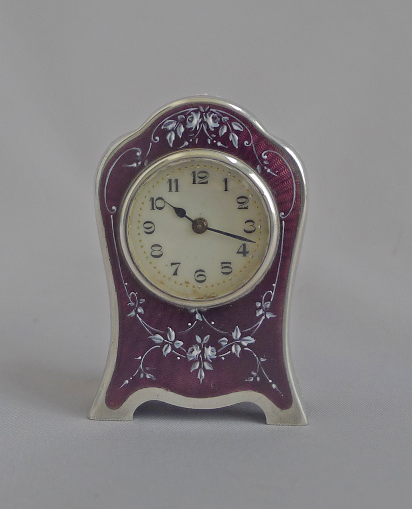 Antique Sub Miniature Silver and Guilloche enamel Carriage Clock