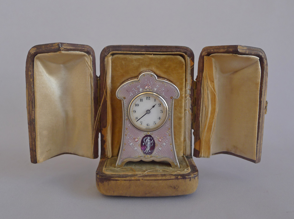 Swiss Lilac Guilloche enamel and silver sub miniature Carriage Clock in original carrying case
