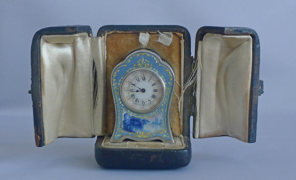 Antique Sub miniature Silver and Guilloche enamel Carriage Clock in original case