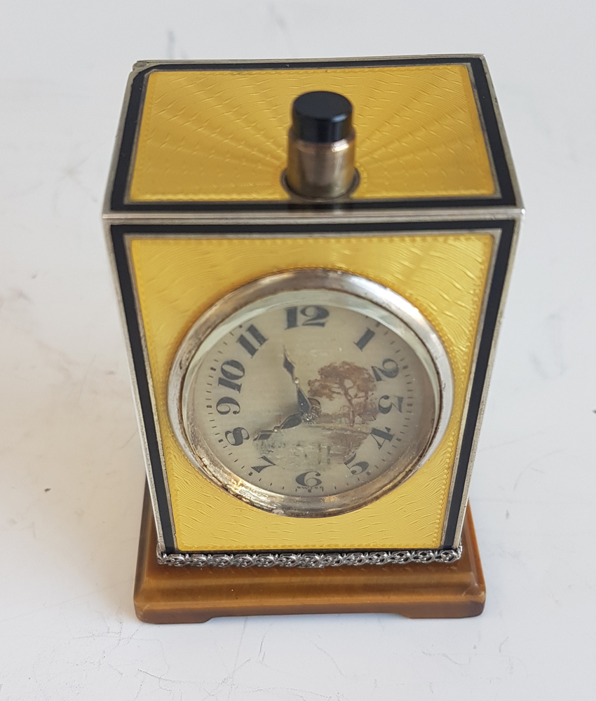 Silver and Imperial Yellow Guilloche enamel Quarter Repeater by  D. Fresard
