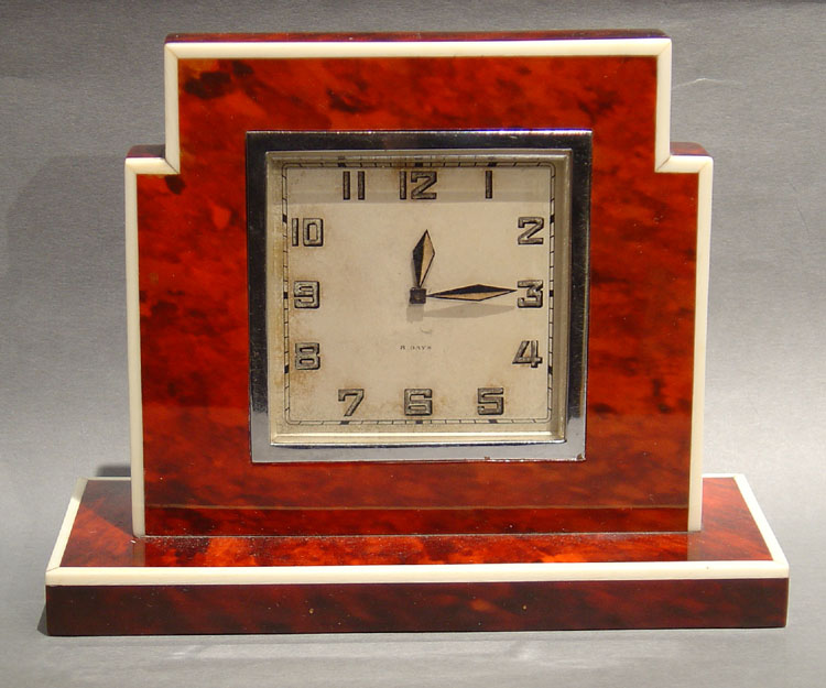 English scarlet tortoiseshell & ivory strung Art Deco clock.