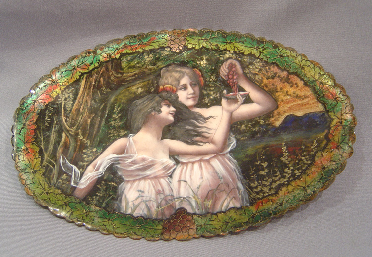 Antique signed Limoges dish of two nymphs, signed H. Doublet.
