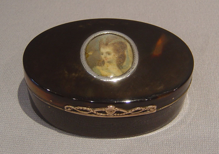 French antique tortoiseshell and gold box with watercolour on ivory to lid.