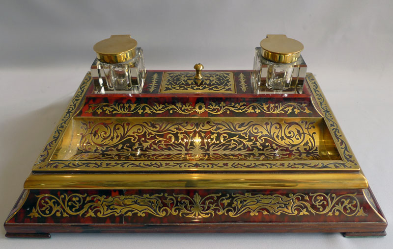Antique tortoiseshell boulle English Edwardian ecrier and blotter.
