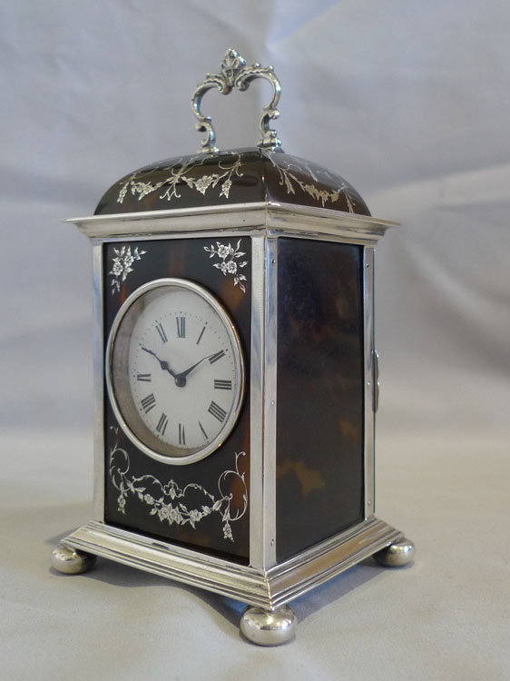 English dome topped tortoiseshell & silver piquet carriage clock