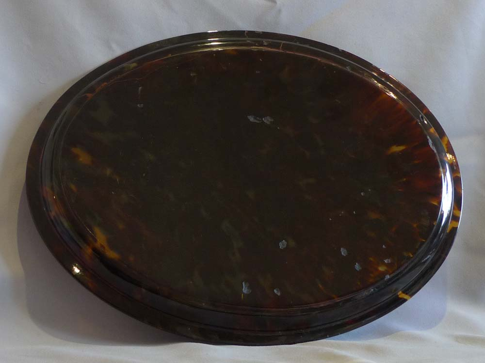 English tortoiseshell and silver pique tray.
