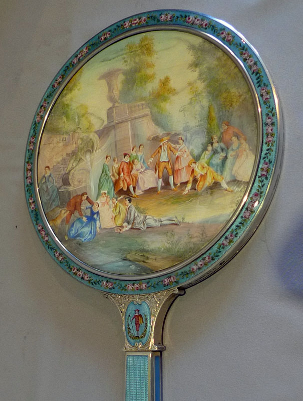 Silver, guilloche enamel, hand painted enamel and watercolour on ivory hand mirror in original case.