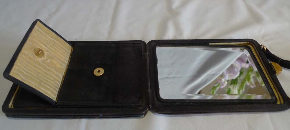 silver and yellow guilloche enamel and en grissaille painting evening purse.