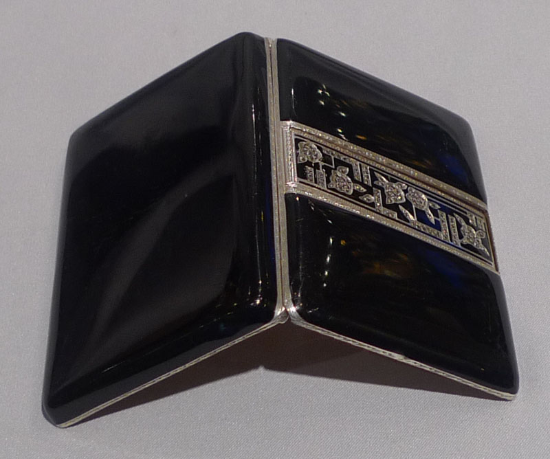 Silver, black enamel and marquesite card case,