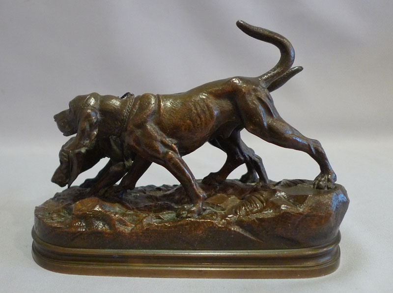 Animalier bronze of a pair of bronze hunting dogs signed A Dubucand.