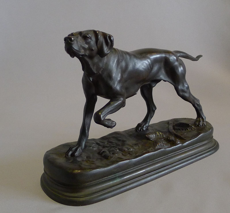 Antique animalier bronze of a pointer by Jules Moingiez