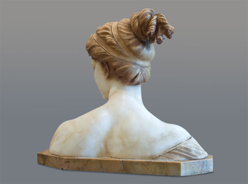White marble Art Nouveau bust of Poesie by Professor Garella.