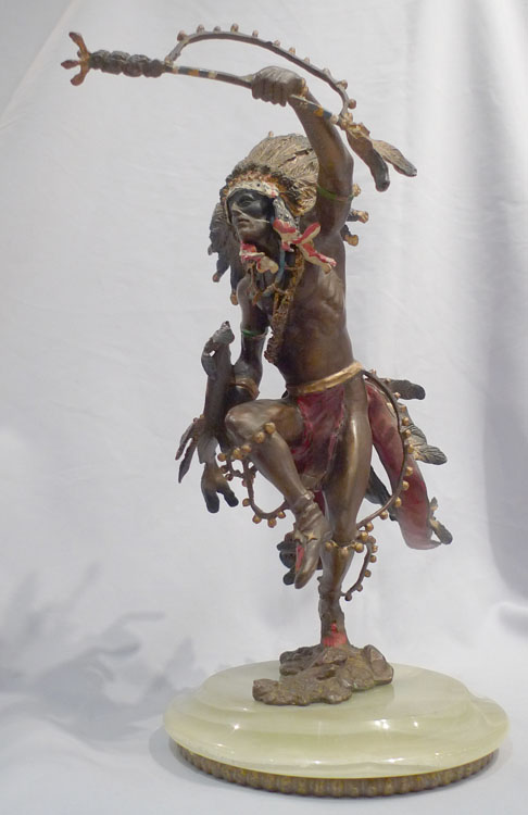 Austrian cold painted bronze of Red Indian chief.