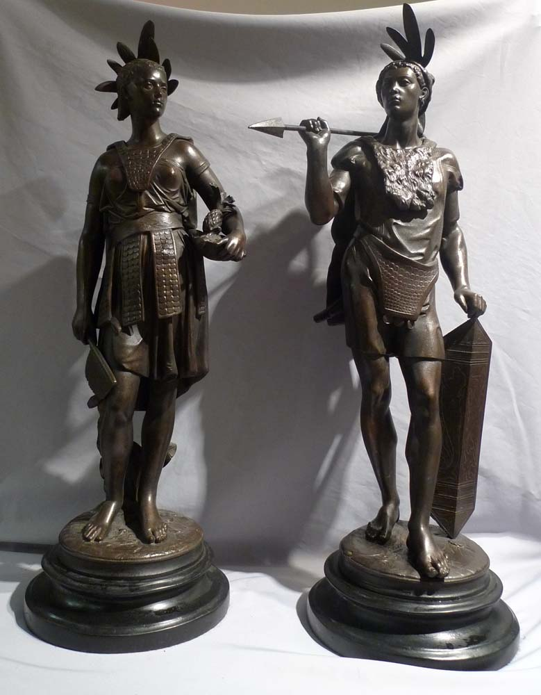 Antique Pair of Native American figures in bronzed spelter of fine quality