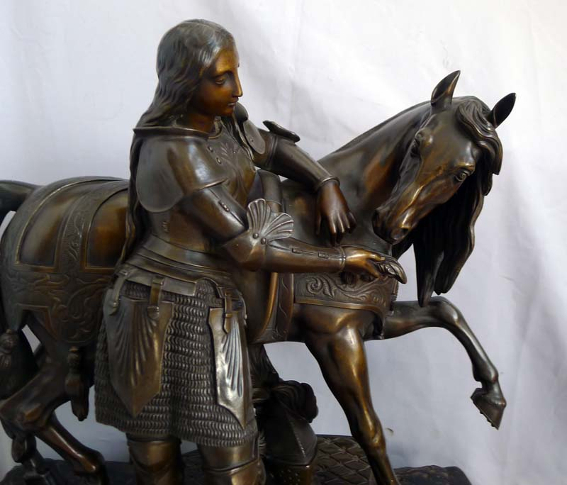 Fine mid 19th century bronze of Joan d' Arc with horse and armour.