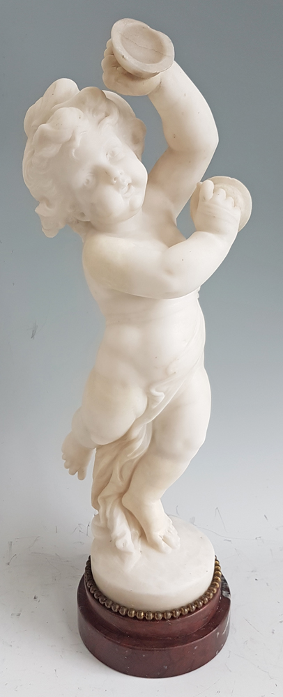 Antique Carrera Marble of a Dancing Putti playing Cymbals After Clodion