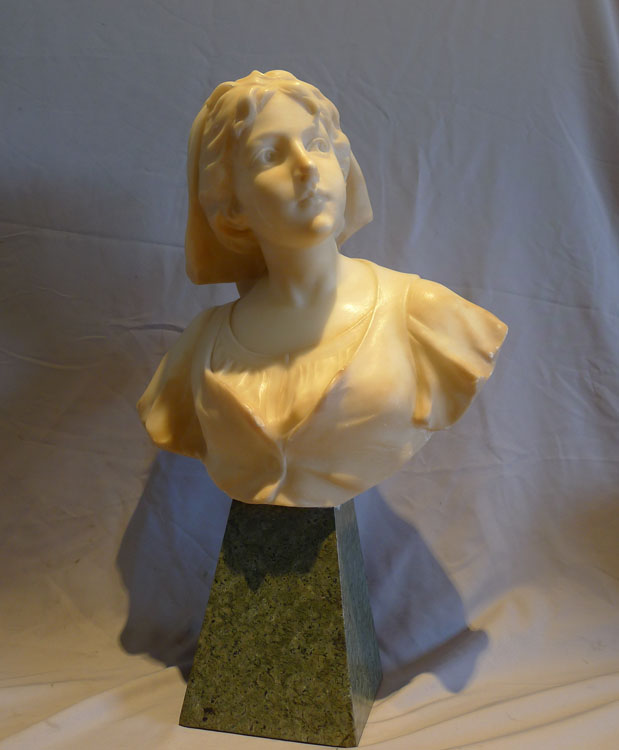 Attractive French early 20th century alabaster and marble bust of a young woman.