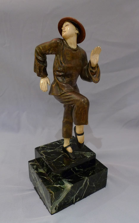 Art Deco bronze and ivory of Chinese woman by Schneider.