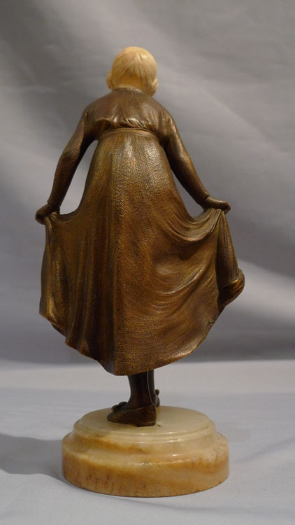 Art Deco Bronze and ivory Statuette, 'The Curtsy' by D. Alonzo for Etling.