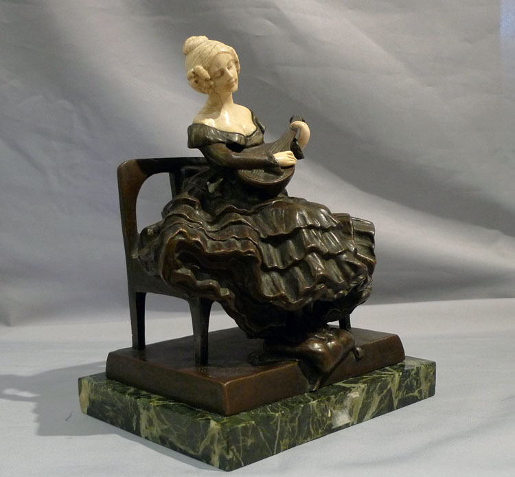 Bronze and ivory seated lady Art Deco bronze, Girl Playing a Mandolin by P. Tereszczuk
