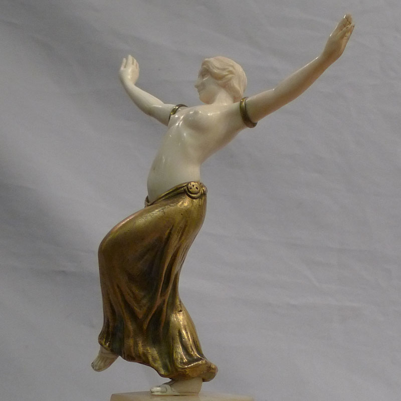 Art Deco bronze and ivory of oriental dancer signed L. Barthelemy.