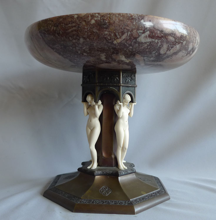Art Deco Bronze and ivory and marble tazza by Preiss.