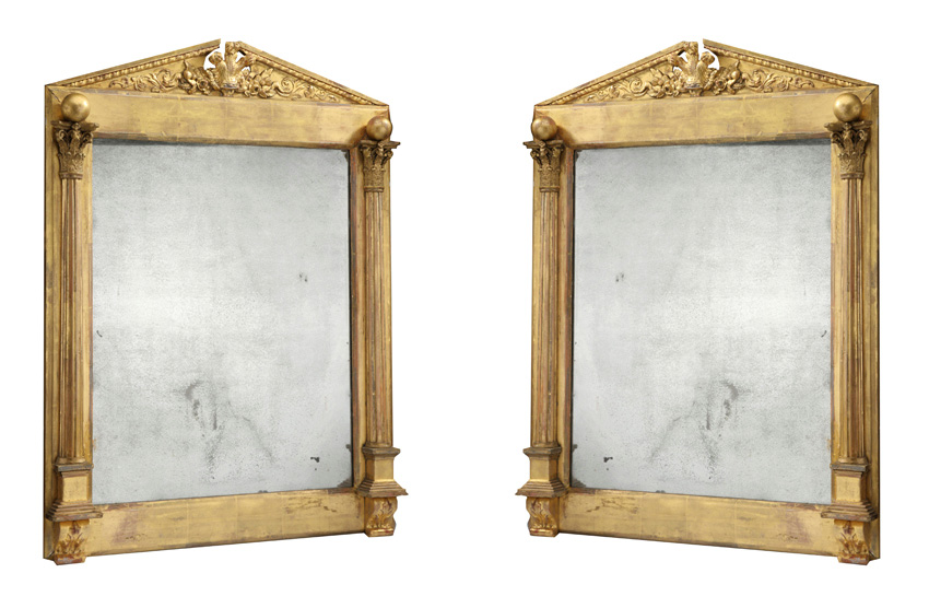 Pair of antique English Regency gilt mirrors.