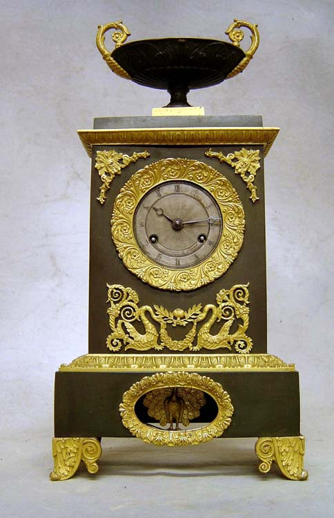Antique French Charles X period patinated bronze & ormolu mantel clock
