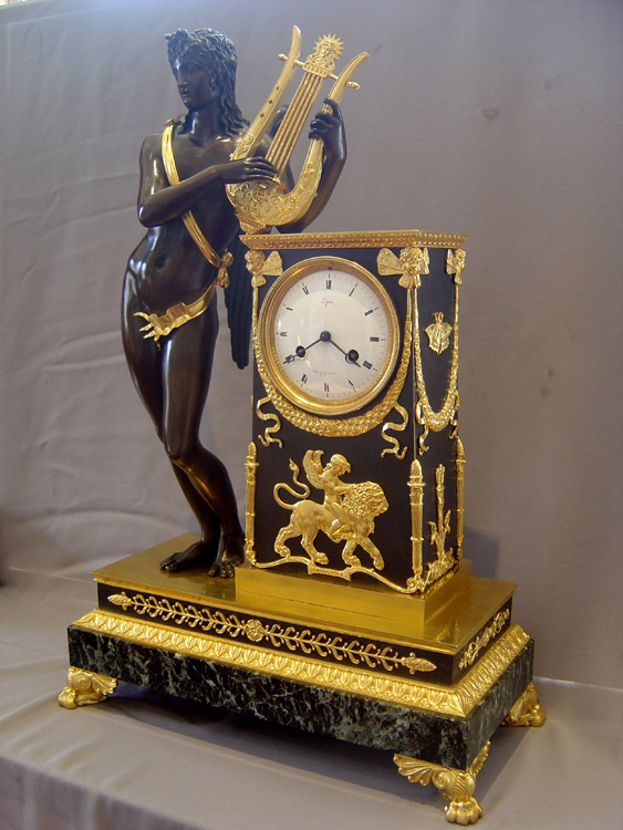 French Empire antique Apollo clock by Lepine and Rabiat.
